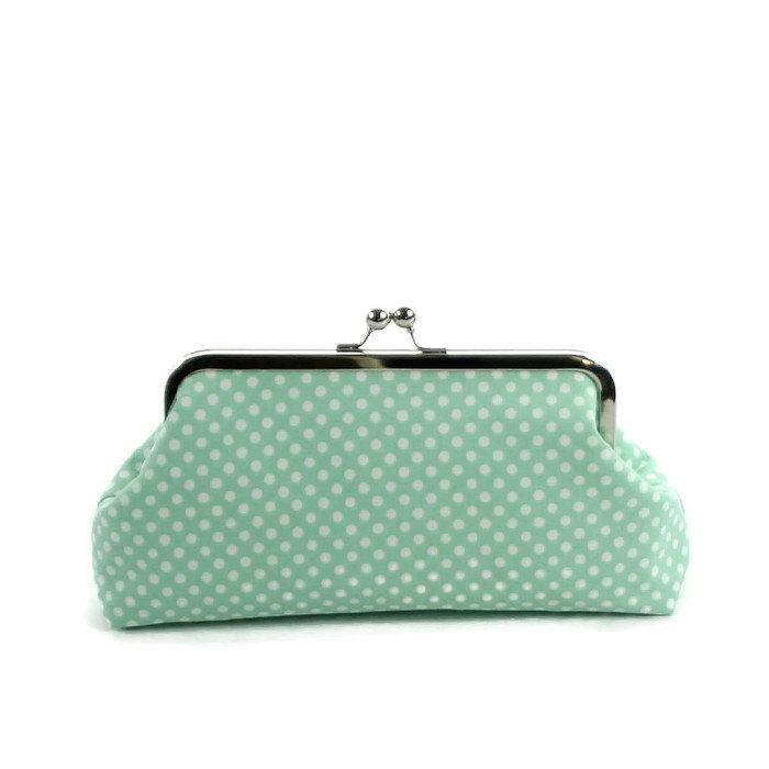 Mariage - Clutch Purse, Bridesmaid Gift, Wedding Purse, Mint Green Polka Dots