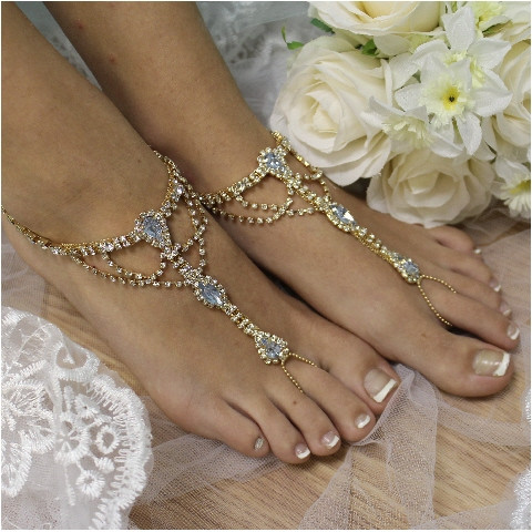 Wedding - Blue barefoot sandals