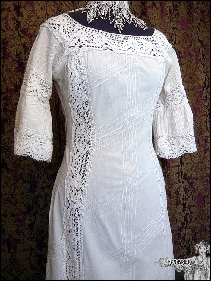 Свадьба - Vintage French Edwardian Style Long White Ivory Summer Garden Party Dress with Intricate Crochet Lace Inserts & Pintuck Details