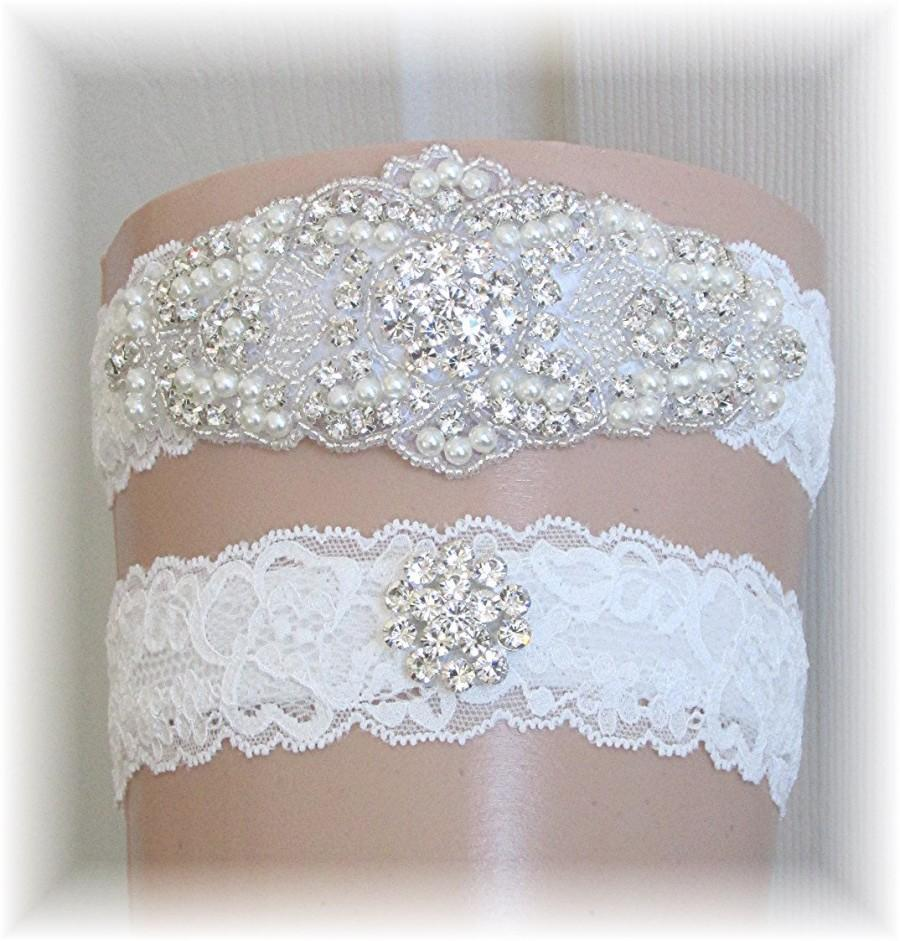 Mariage - Wedding Garter Set, Bridal Garter Set, Lace Garter Set, Keepsake Garter, Toss Garter, Garter Set, Stretch Lace Garters with Crystals