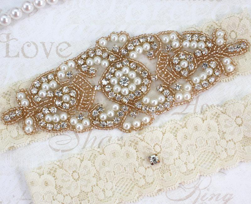 Свадьба - ALANA  - ROSE GOLD Stretch Lace Garter, Pearl Wedding Garter Set, Rhinestone Crystal Bridal Garters, Keepsake Garter
