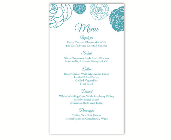 Boda - Wedding Menu Template DIY Menu Card Template Editable Text Word File Instant Download Blue Menu Floral Menu Rose Printable Menu 4x7inch