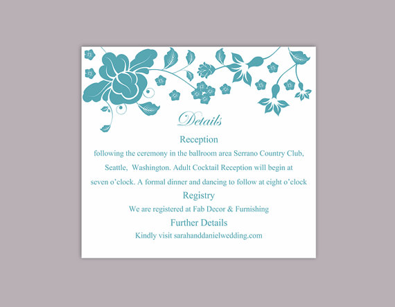 Wedding - DIY Wedding Details Card Template Editable Word File Instant Download Printable Details Card Teal Blue Details Card Elegant Enclosure Cards