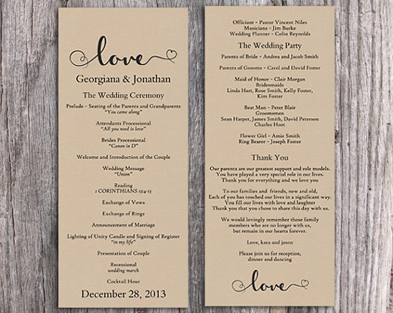 Burlap Wedding Program Template Diy Editable Word File Download