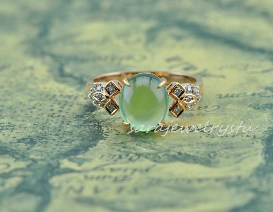 media ringgreen gift gold green ringanniersary in anniersary ring engagement rose with diamonds gemstone carat handcrafted ringgiftengagement jewelry prehnite