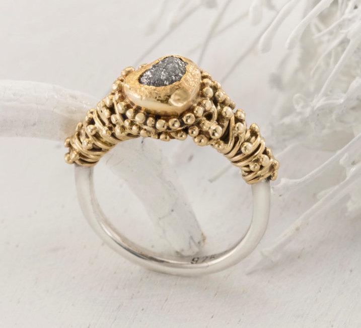 Mariage - Raw diamond Ring, 1.47 carat  engagement ring, Uncut diamond Ring, Uncut engagement Ring, rough diamond engagement ring, Ring size 5, 24k