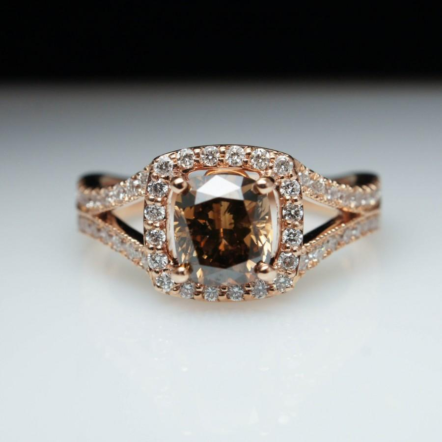 Brown Cushion Diamond Halo Split Shank Engagement Ring 14k Rose Gold Diamond  Engagement Ring Rose Gold Engagement Ring Champagne