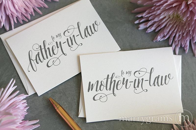 زفاف - Wedding Cards to Your New Mother and Father in-Law - Parents of the Bride or Groom Card Rehearsal Dinner Gift Thanks Keepsake Note - CS12
