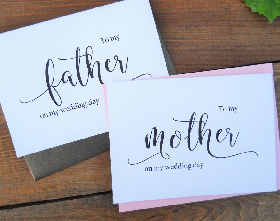 Wedding - TO My MOTHER Card, To My FATHER Card, Mother of the Bride Card, Father of the Bride Card, Mother of the Bride Gift, Father of the Bride Gift