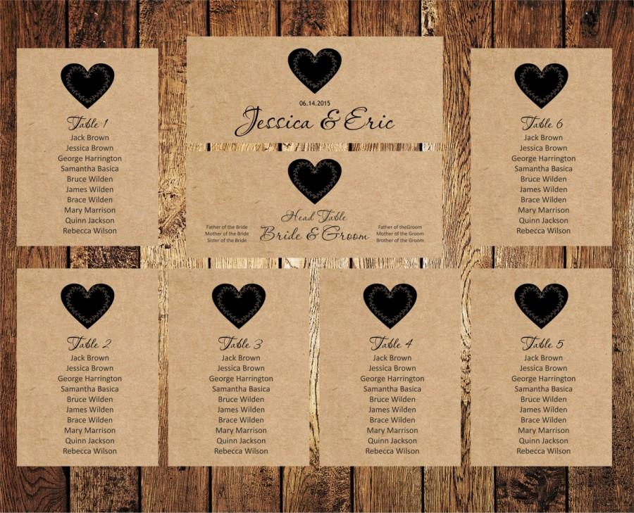 Wedding Seating Chart, Editable Text, Rustic Kraft Wedding Seating Chart  Template, Download Instantly, Digital PDF, You Print, DIY  Free Wedding Seating Chart Templates