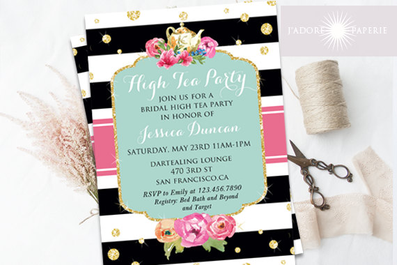 high tea invitation bridal high tea bridal brunch invite printable invite bridal shower tea printable shower glitter jadorepaperie