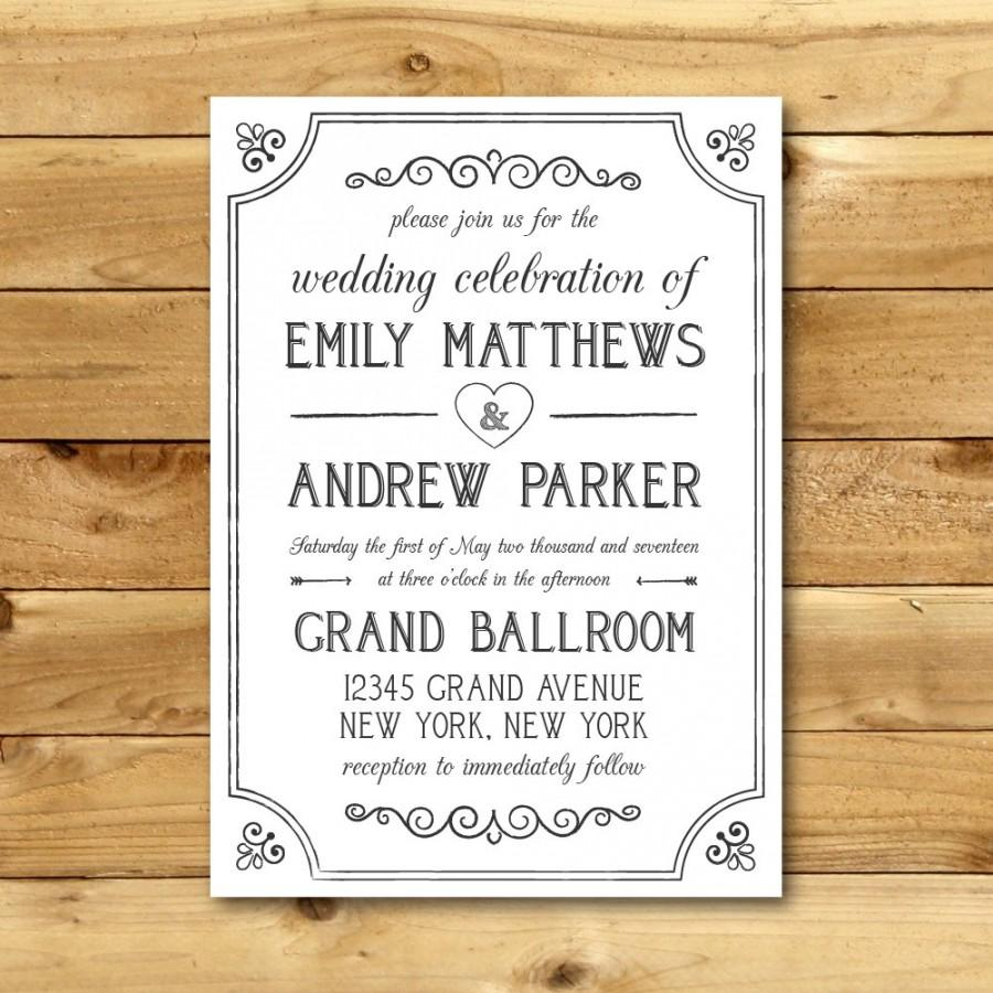Printable Vintage Style Wedding Invitation Template - Dark Grey ...