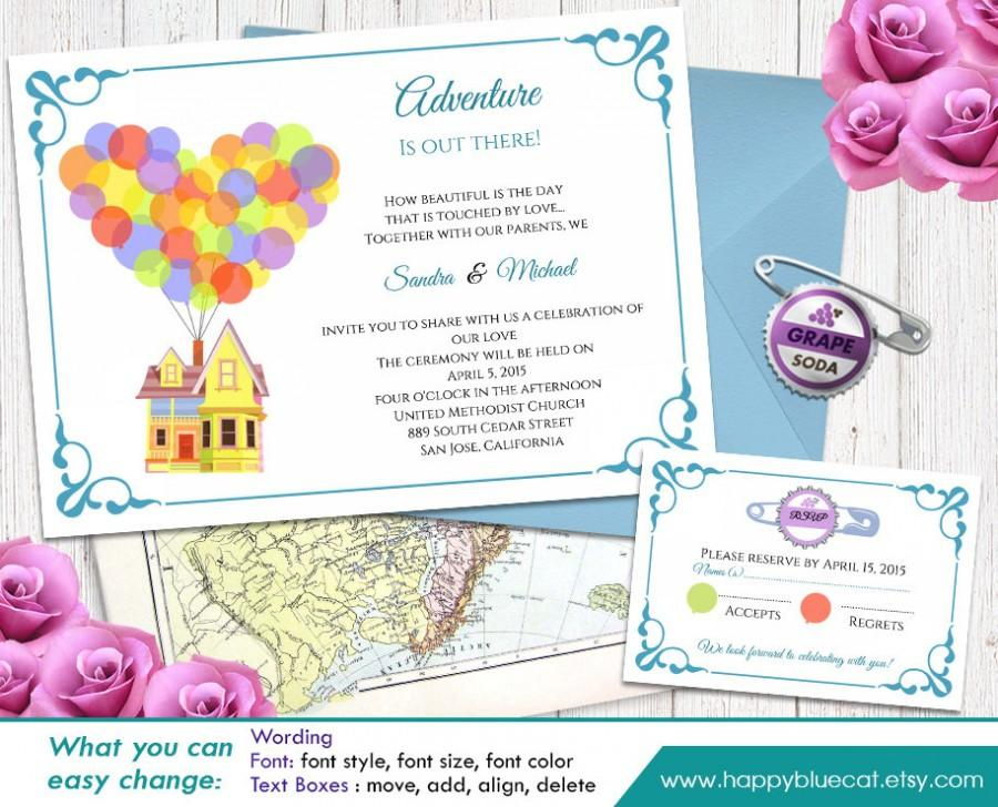 up pixar inspired diy printable wedding invitation and rsvp