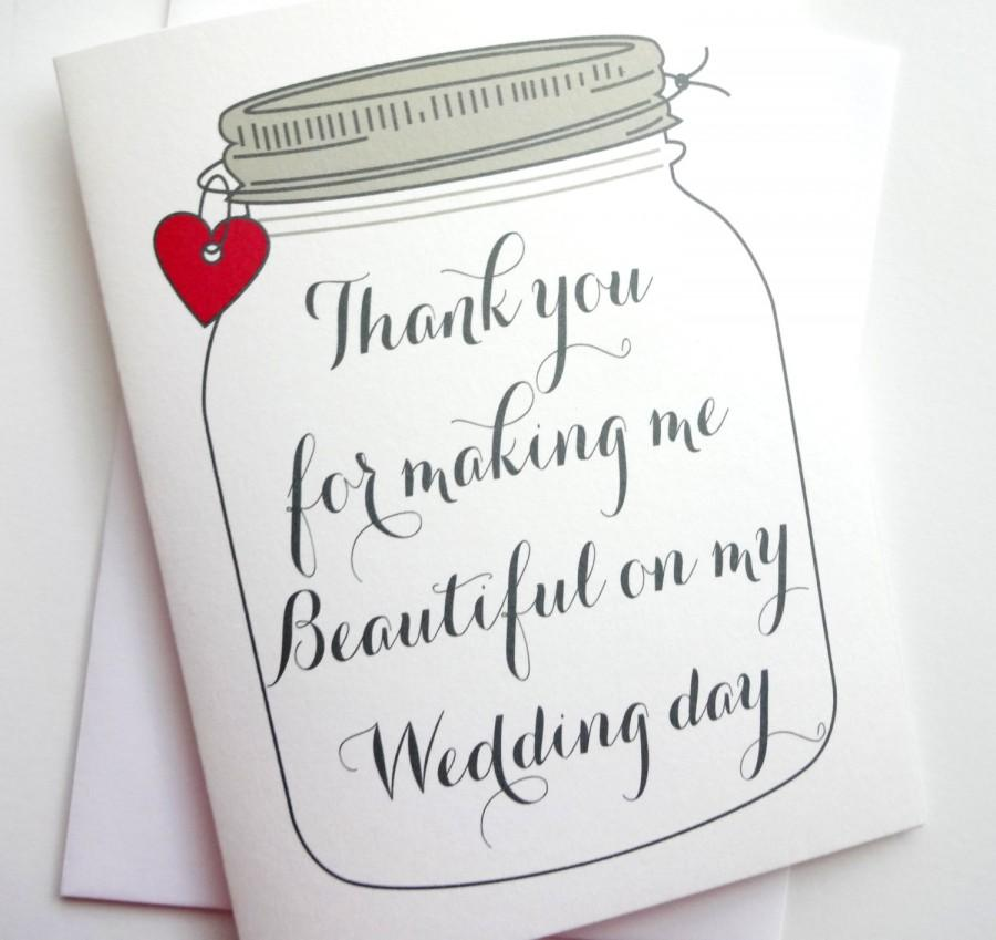 Wedding Thank You Card Thank You For Making Me Beautiful On My – What to Put in a Wedding Thank You Card