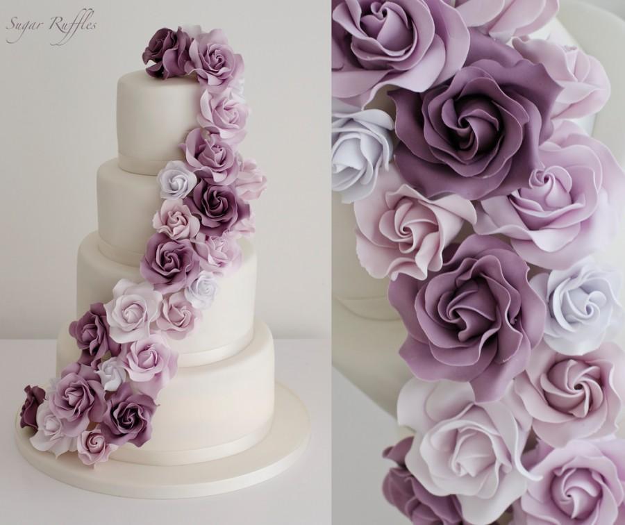 Wedding - Purple Rose Cascade Wedding Cake