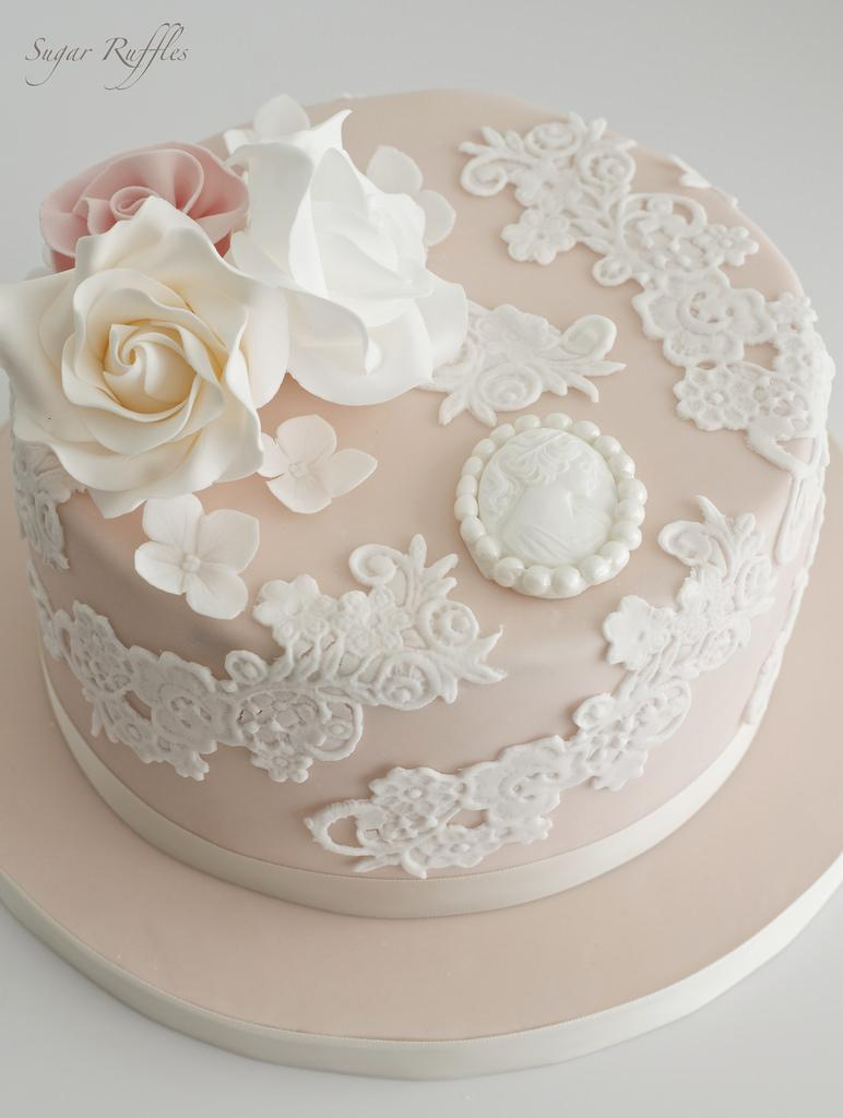 Food & Favor - Blush Lace Birthday Cake #2484375 - Weddbook