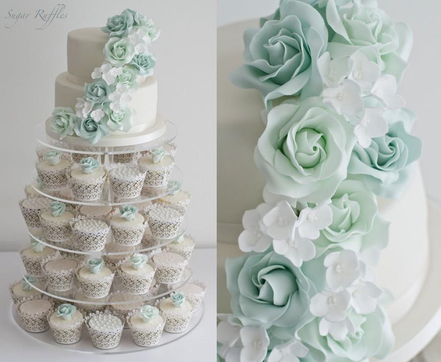 Wedding - Green Rose Cascade Cupcake Tower