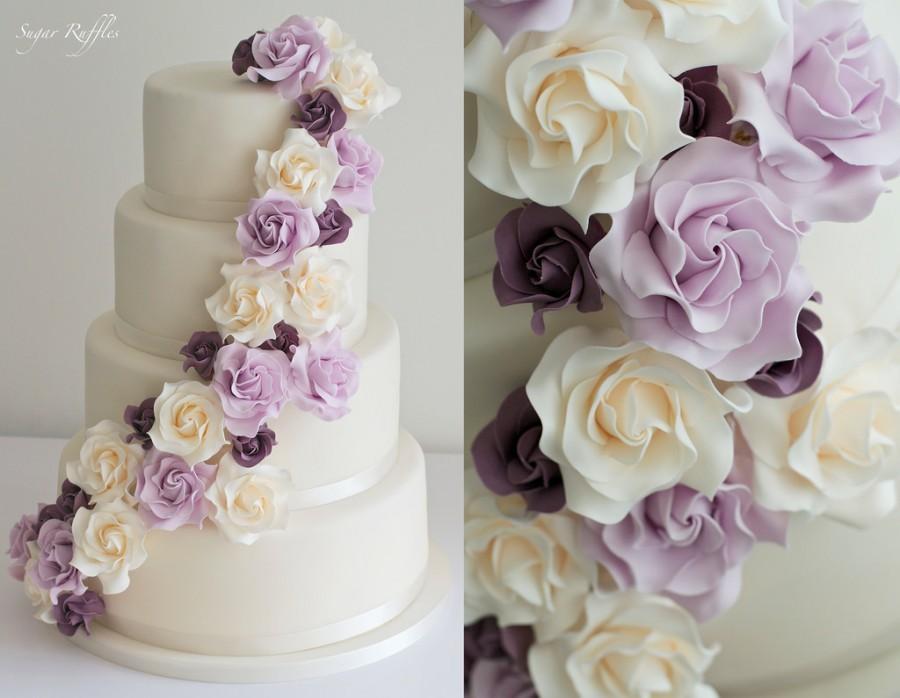 Wedding - Purple And Cream Rose Cascade