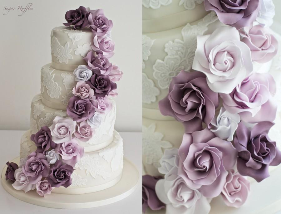 Wedding - Purple Cascade Wedding Cake