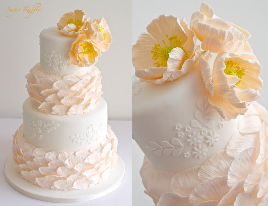 زفاف - Peach Wedding Cake With Poppies