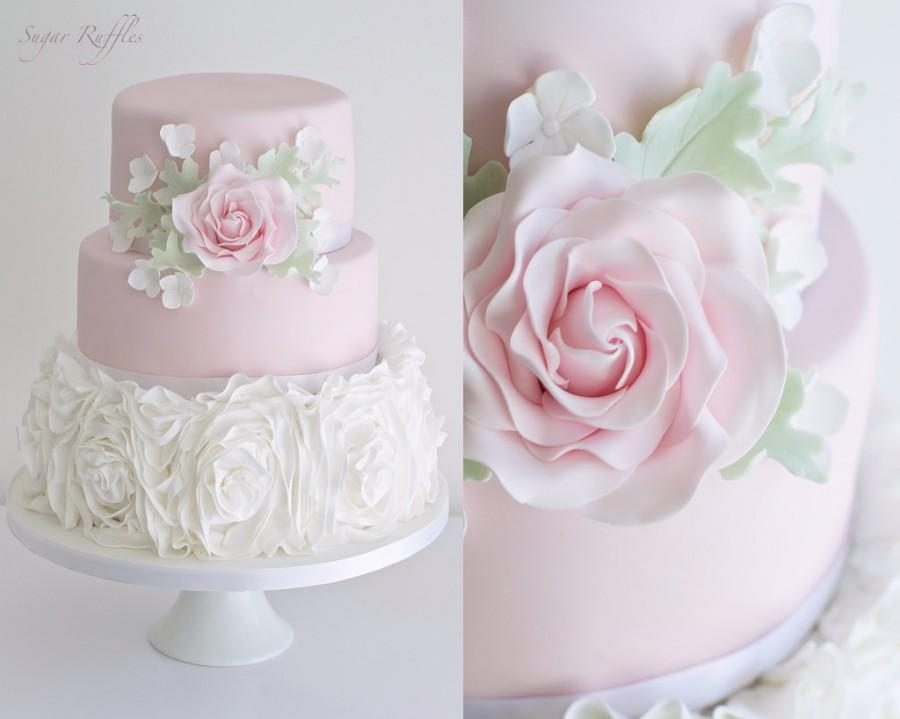 Свадьба - Pink Ruffle Rose Wedding Cake