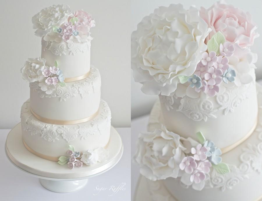 Wedding - Pastel Peony Wedding Cake