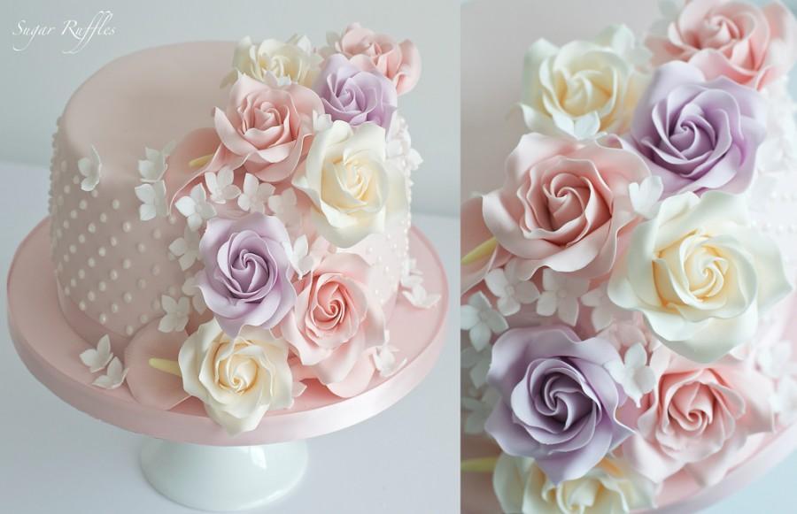 Pink Cascading Sugar Flowers Birthday Cake 2484444 Weddbook