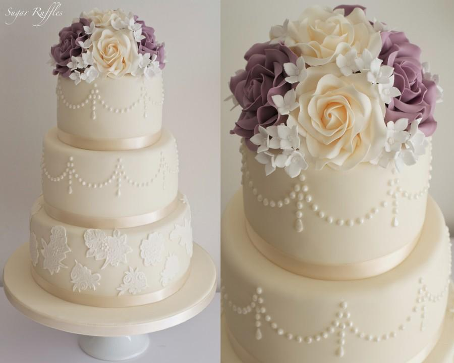 Wedding Cake With Lace Pearls Sugar Flowers