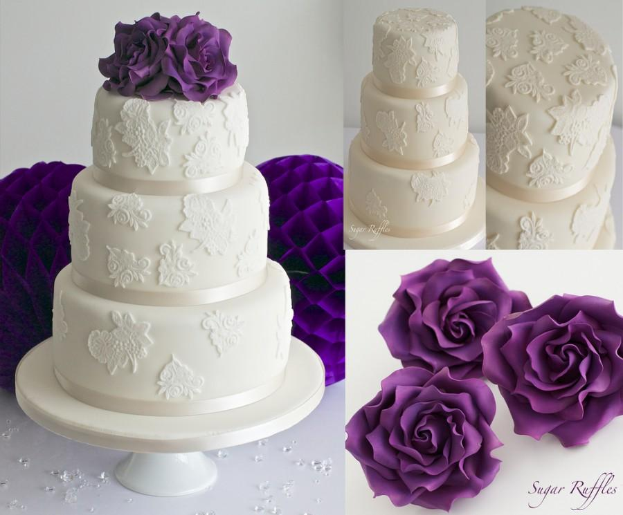 Wedding Cake Purple Roses With The Best Flowers Ideas