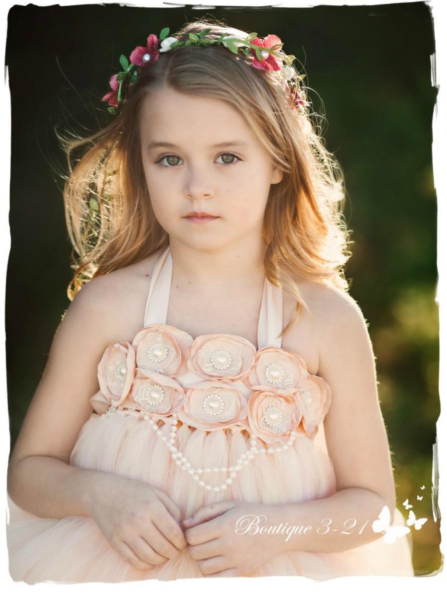 زفاف - Blush Flower Girl Dress, Blush tutu dress, Flower Girl Tutu Dress, Wedding tutu dress, Blush and pearls flower girl tutu dress, flower girl