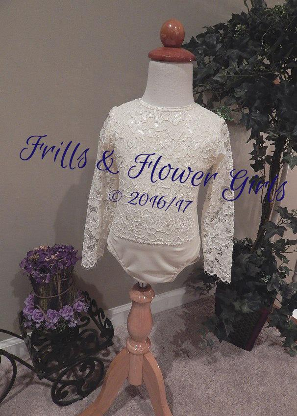 زفاف - Ivory Lace Flower Girl Onsie Top Ivory Lace Stretch Bodysuit or Leotard - Custom made Baby 12 Mo to Girls Size 6
