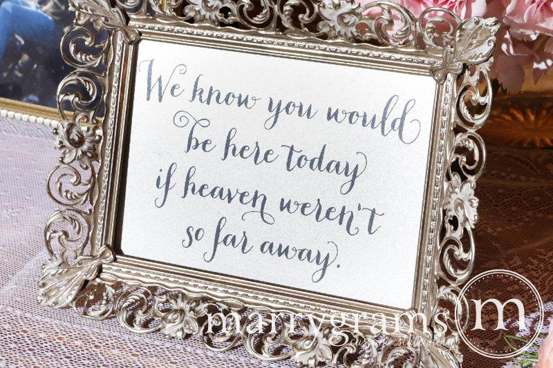 زفاف - If Heaven Weren't So Far Away In Loving Memory Sign Table Card - Wedding Signage - Family Photo Table Sign - Matching Numbers Available SS02
