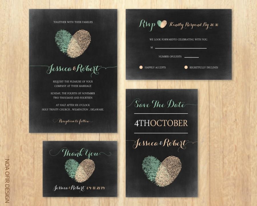 Chalkboard Wedding Invitation Set Fingerprints Peach And Green RSVP Thank You Card Save The Date Printable DIY