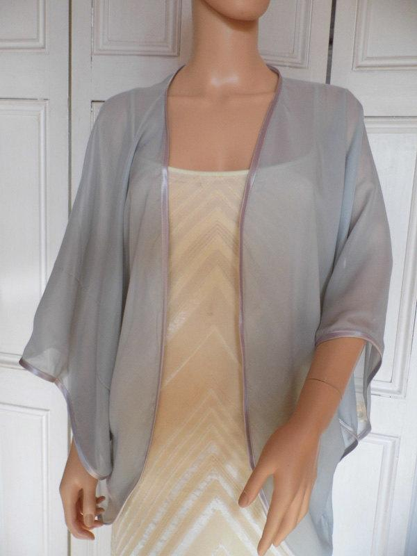 زفاف - Silver chiffon kimono/jacket/wrap/cover-up/bolero with satin edging