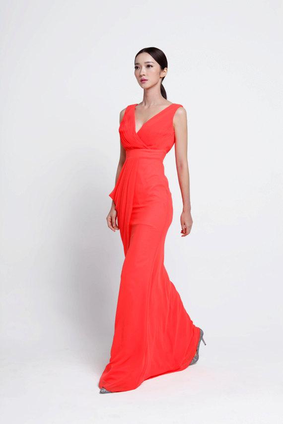 زفاف - Wedding dress/Silk Chiffon party dress/ bridesmaid dress/Prom/ handmade/ floor length formal dress - NC519