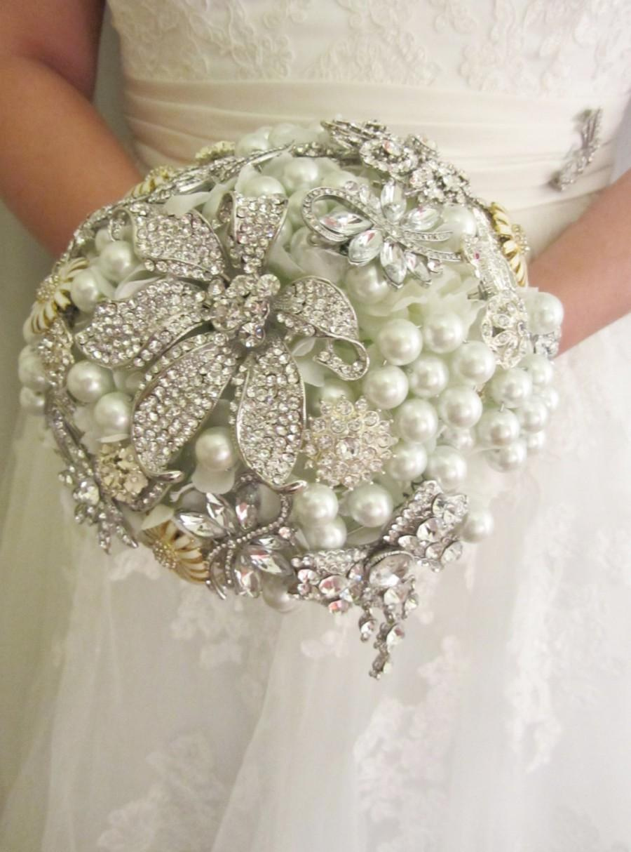زفاف - Brooch bouquet, Brooch and pearl bouquet, Alternative bridal bouquet,Custom bouquet - Deposit brooch bouquet