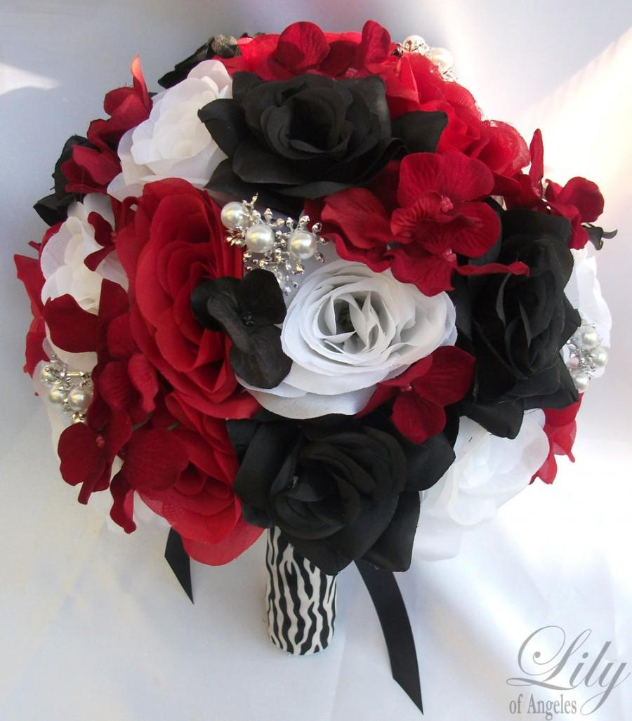 """Wedding - 17 Piece Package Wedding Bridal Bride Maid Of Honor Bridesmaid Bouquet Boutonniere Corsage Silk Flower RED BLACK Zebra """"Lily Of Angeles"""""""