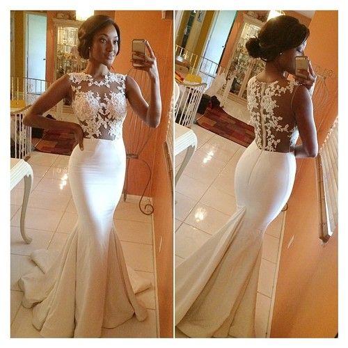 زفاف - White Ivory Wedding Dress Mermaid Bridal Gown Lace Custom Size 4 6 8 10 12 14 16