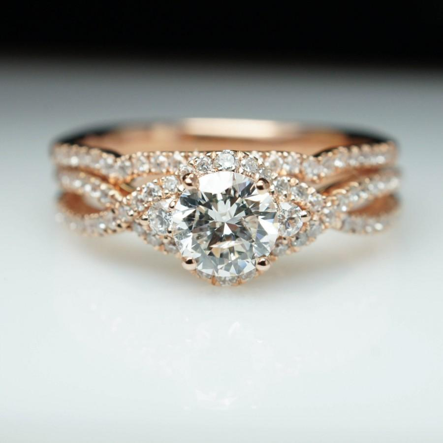 14k rose gold diamond halo engagement ring wedding band set diamond engagement ring three stone rose gold wedding ring custom bridal set - Engagement Ring And Wedding Band Set