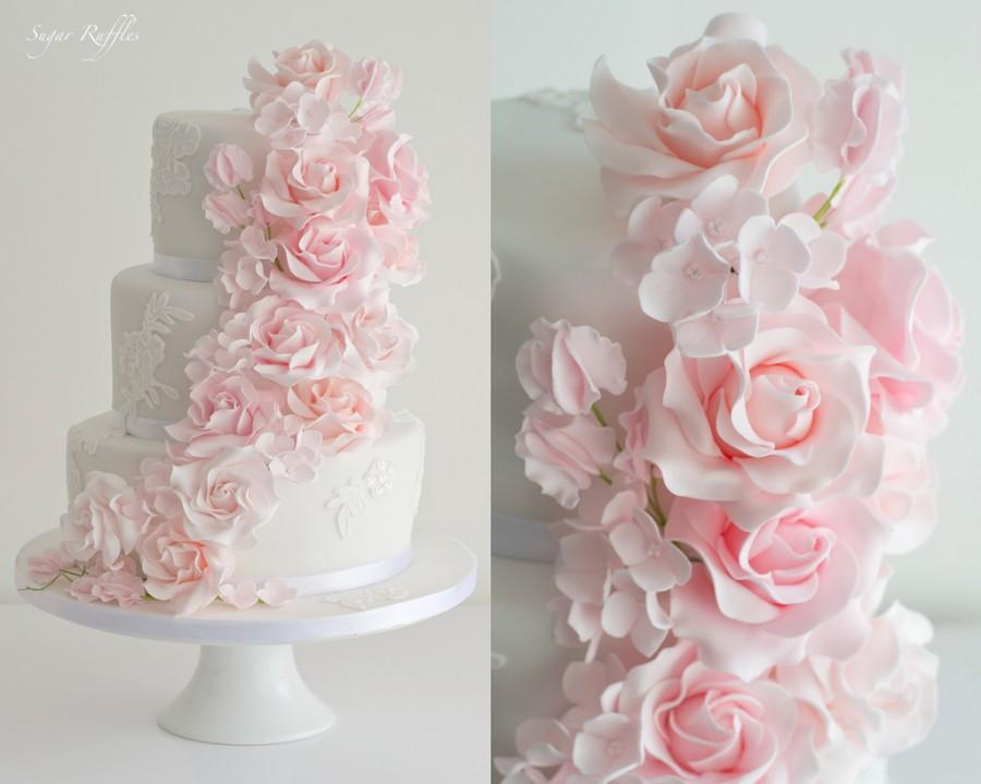 Food Favor Pink Floral Cascade Wedding Cake 2485152 Weddbook