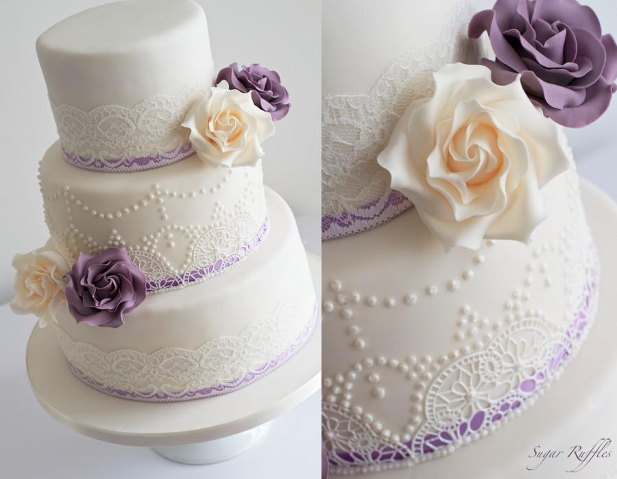 Ivory And Purple Wedding Cake Vintage Lace Pearl Piping 2485164