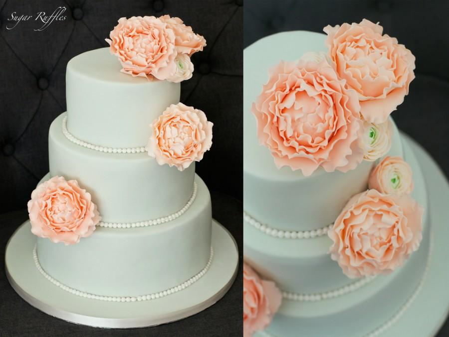 Wedding - Mint Green Wedding Cake With Peach Sugar Flowers