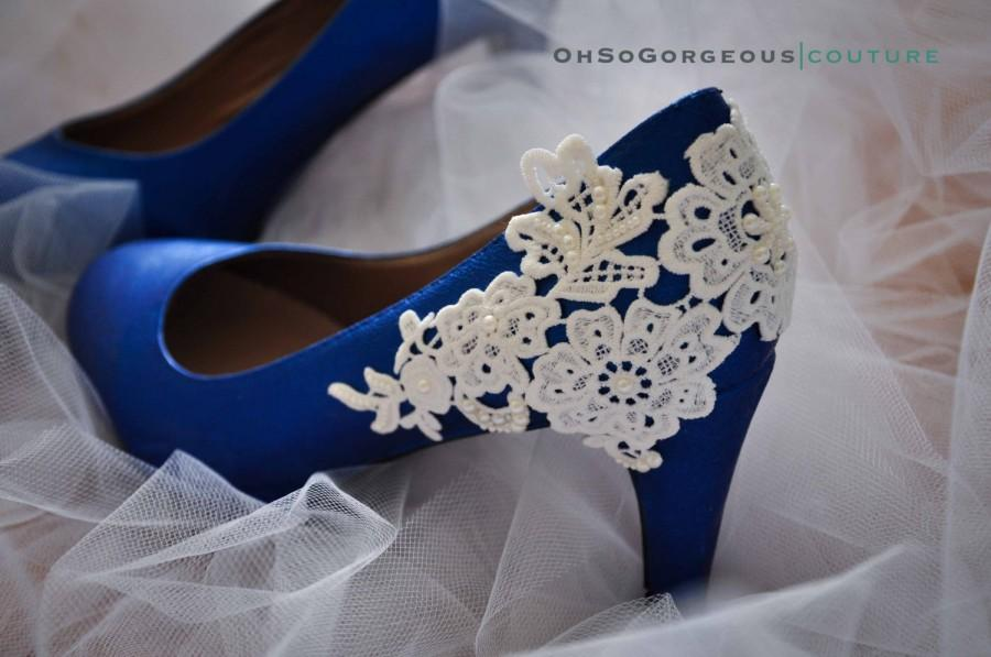 royal blue wedding shoes lace wedding shoes lace applique