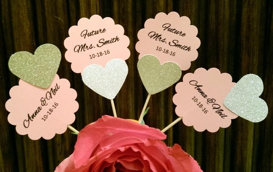 Wedding - Personalized Custom Bridal Shower Cupcake Toppers, Bridal Shower Decoration, Wedding Cupcake toppers, Future Mrs, heart cupcake toppers,