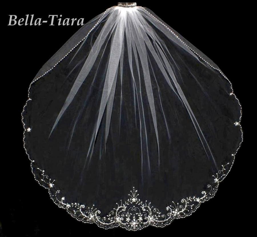 Mariage - crystal beaded edge wedding veil, champagne crystal edge wedding veil, bridal veil, wedding veils, cathedral ivory wedding veil