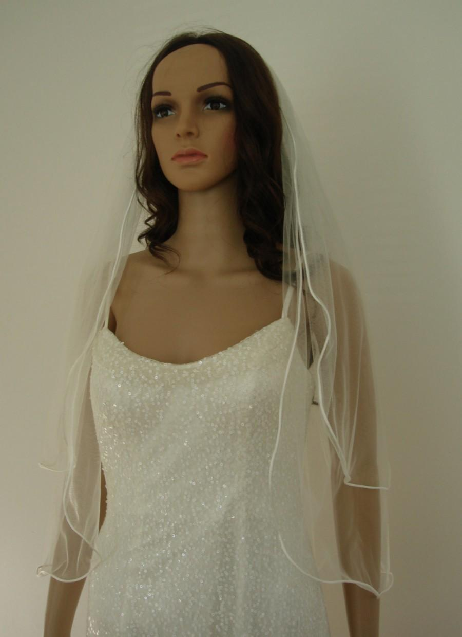 Mariage - 2 tier veil in white or ivory with cording edge (cbc004)
