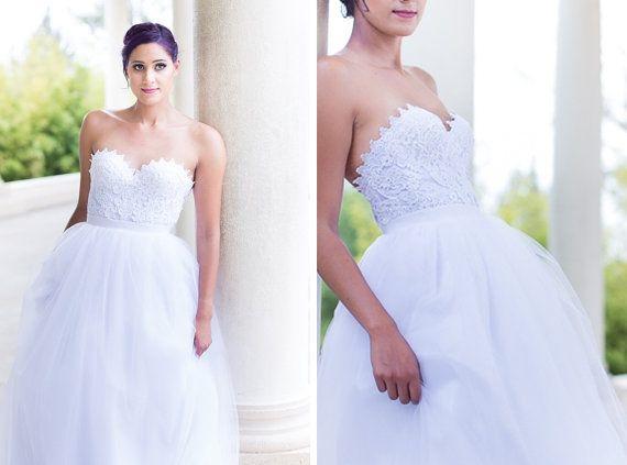 White lace corset 2 piece wedding dress strapless for White corset for under wedding dress