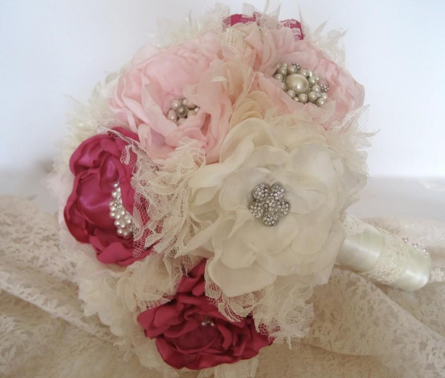 Wedding - Vintage Inspired Fabric Flower Wedding Brooch Bouquet in Ivory Pink and Fuchsia  with Tulle Lace  Rhinestones and Pearls Custom Order