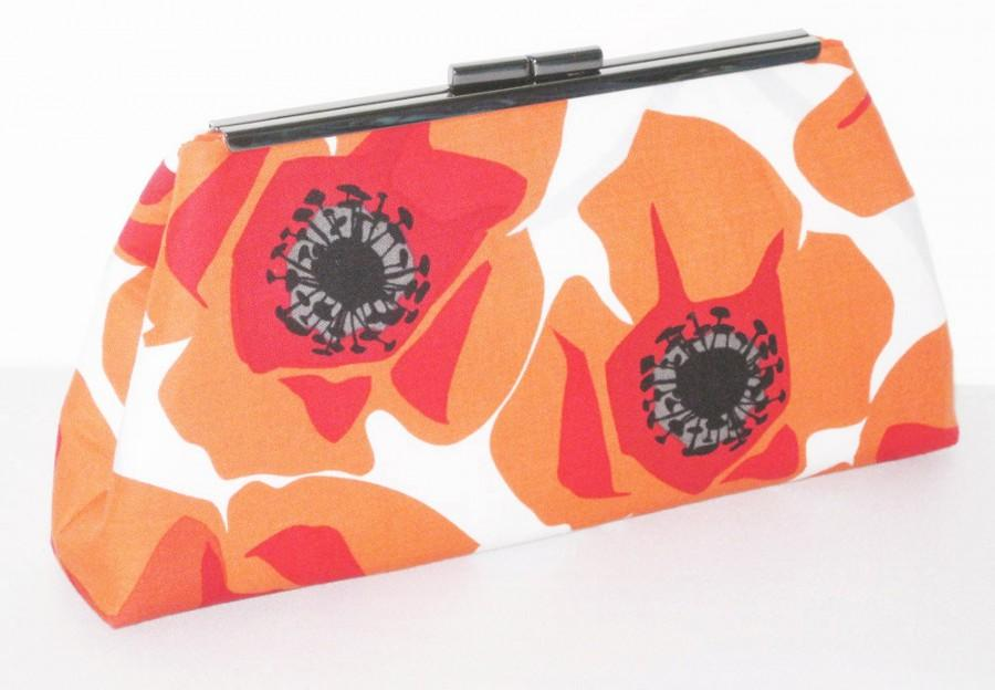 Mariage - Modern Clutch - Orange Red Modern Poppy Floral - Made to Order by UPSTYLE