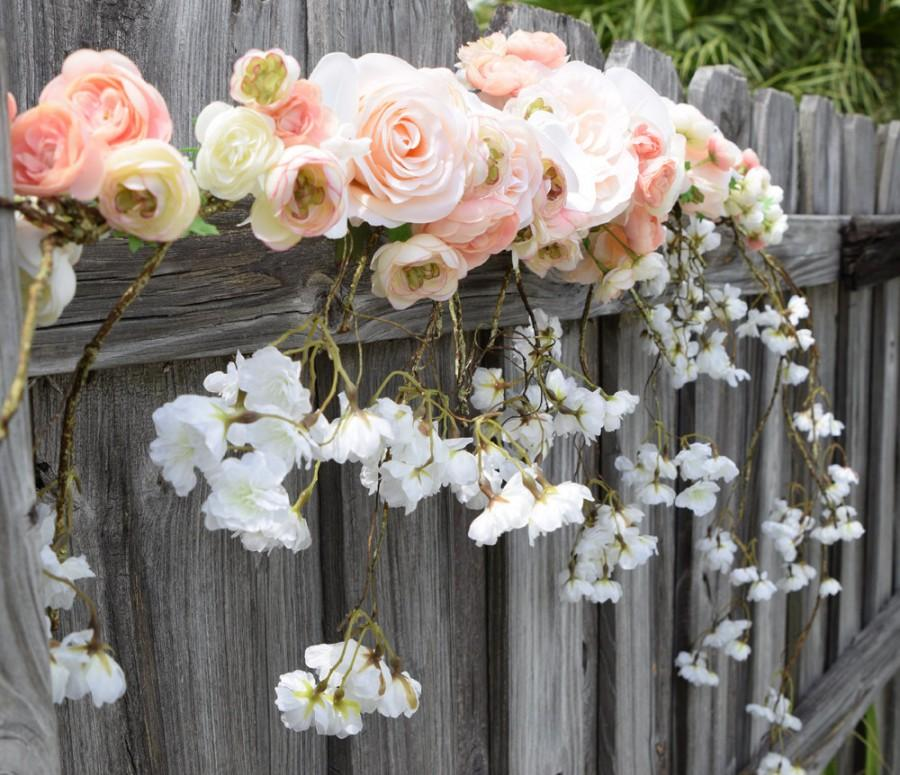Wedding Arch Garland With Cascading Blossoms Orchids Roses Silk
